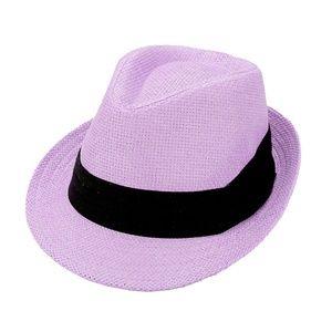 Lavender With Black Trim Straw Fedora Hat